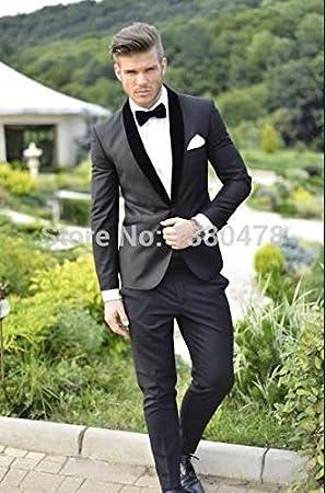 GFRBJK Groom Tuxedos Charcoal Grey Best Man Shawl Cuello Negro ...