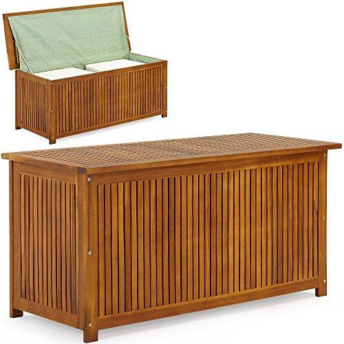 Auflagenbox mit Innenplane Holztruhe Akazienholz 117cm Kissenbox Gartenbox Gartentruhe Auflagen Truhe