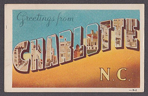 Greetings from CHARLOTTE NC large letter postcard 1945
