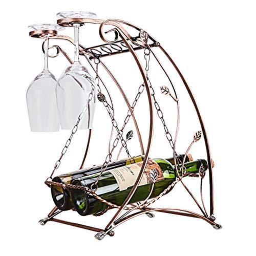 Creative Countertop Wine Rack, Separate Metal Bottle Rack, Swing Basket Style Wine Rack, can Store 2 Bottles of Red Wine and 2 Red Wine Glasses, Suitable for Bars, Wine Cellars, Restaurants, Cabinets,