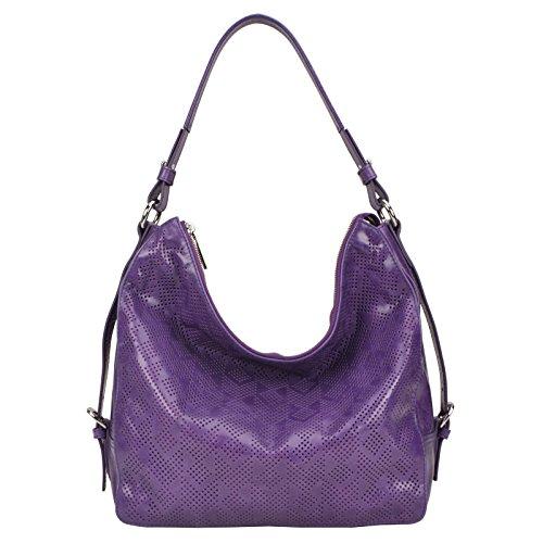 an leather hobo shoulder handbag purse bag (Purple) (Italian Leather Large Hobo)