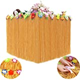 Luau Table Skirt,Hawaiian Luau Hibiscus Grass Table Skirting 9.6 Ft with 26 Faux Silk Flowers,Artificial Grass Table Cover Skirts for Beach Picnic BBQ Tropical Garden Party Decorations (Yellow)