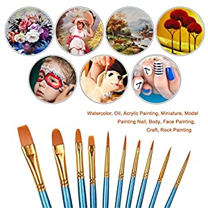 Xubox Pointed-Round Paintbrush Set, 10 Pieces Round Pointed Tip Nylon Hair Artist Detail Paint Brushes Set for Fine Detailing & Art Painting, Acrylic Watercolor Oil, Nail Art, Miniature Painting, Blue