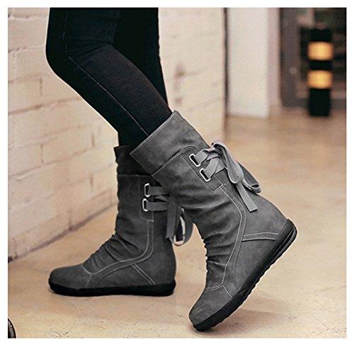 Mi Arriere Boots Lacets Bottes Compense Talon Enfiler A Femmes RAZAMAZA Grey Slouch 5cWBFBn