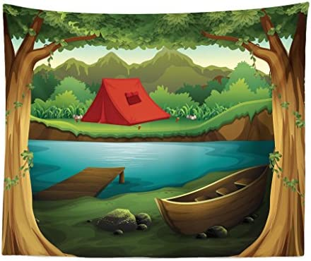 Lunarable Camping Tapestry King Size, Idyllic Nature Scene of a Deep Forest with Lake and Mountains Cartoon Woodland, Wall Hanging Bedspread Bed Cover Wall Decor, 104 X 88 , Brown Green