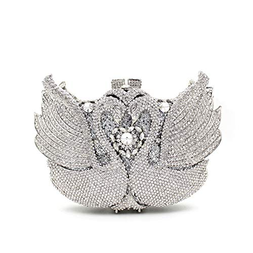 Women's clutch bag luxury swan crystal diamond evening bag hand-studded cosmetic bag picture color 20c'm13c'm5c'm (Hobo Leather Prada)
