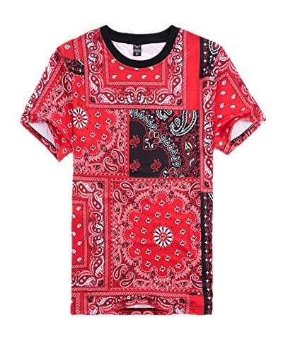 Price comparison product image Men Hip Hop Casual Cashew Nut Print Jogger Short Sleeve T-Shirt (L,  Red)