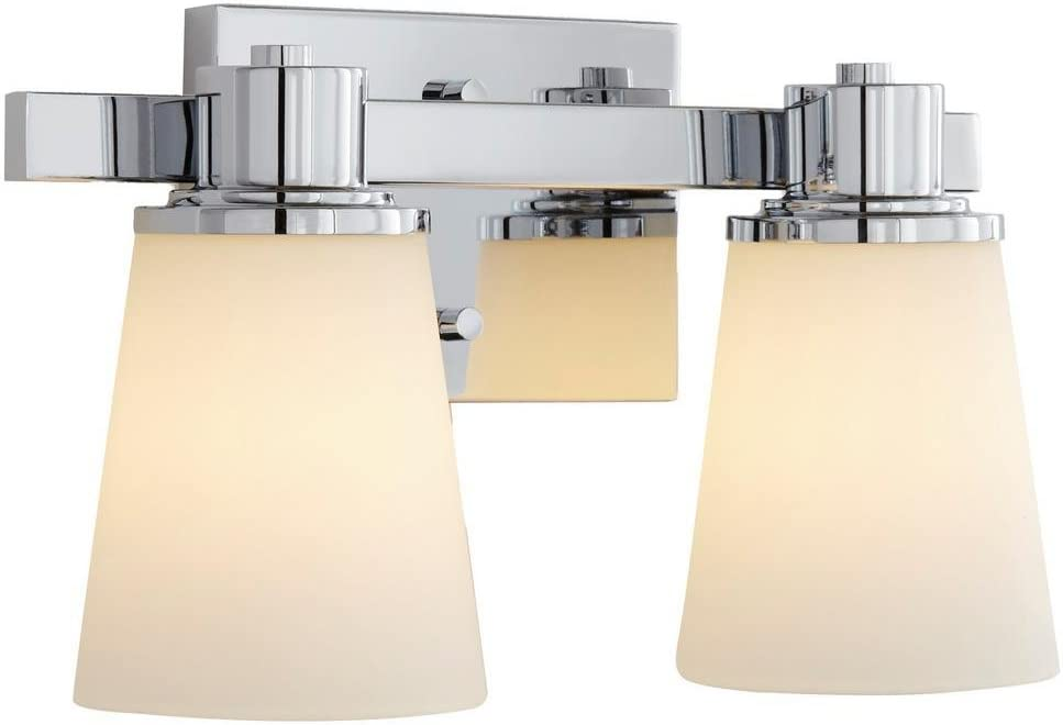 Home Decorators Collection 2-Light Chrome Bath Vanity Light with Bell Shape Etched White Glass