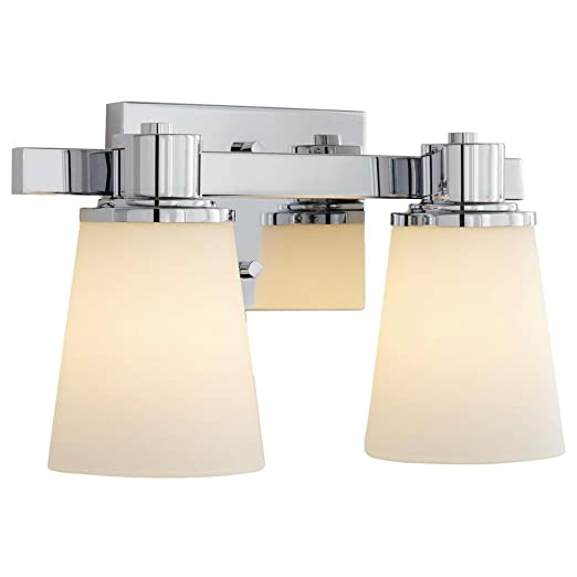 Home Decorators Collection 2 Light Chrome Bath Vanity Light With Bell Shape Etched White Glass