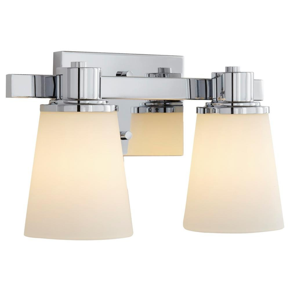 Home Decorators Collection 2-Light Chrome Bath Vanity Light with Bell Shape Etched White Glass by Home Decorators Collection