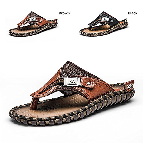ENLEN and BENNA Mens Beach Flip-Flops Leather Thong Sandals for Men Bottle Opener Flip Flops Summer Outdoor Fisherman Slippers Non-Slip Sandals Brown US 11=EU45=27.5CM -