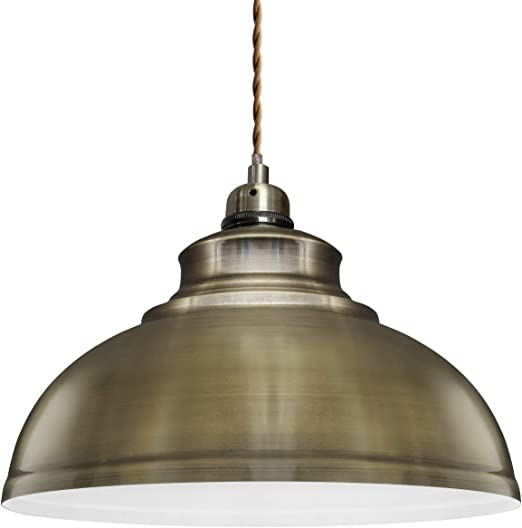 Modern Retro Style Domed 28cm Ceiling Pendant Light Shades Gloss Metal Lampshade