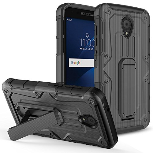 For Alcatel Raven Case, Phonelicious Shockproof [Military Drop Tested] w/Kickstand [Heavy Duty Case] Impact Resistant Cover with Screen Protector for Alcatel A574BL (BLACK T)