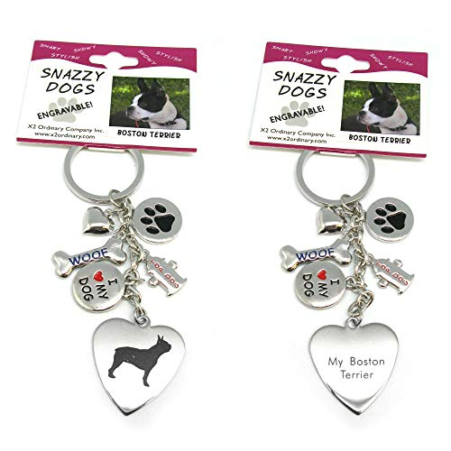 Boston Terrier Keychain for Women, Girls, Boys, Men - Engraved Stainless Steel Dog Key Ring with Charms - Cute I Love My Dog Key Fob Gift - Cute Pet Accessories by Frogsac USA