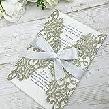 PONATIA 25PCS Laser Cut Bling Invitations Card With Ribbon For Wedding Bridal Shower Engagement Birthday Graduation Invitation Cards (Gold Glitter)