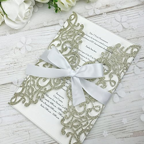 PONATIA 25PCS Laser Cut Bling Invitations Card With Ribbon For Wedding Bridal Shower Engagement Birthday Graduation Invitation Cards (Gold Glitter)