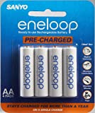 Sanyo - Eneloop Aa Nimh Pre-Charged Rechargeable Batteries - 4 Pack