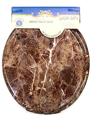 Round Standard Veneer Brown Marble Wood Toilet Seat Closed Front (Wood Veneer Toilet Seat)