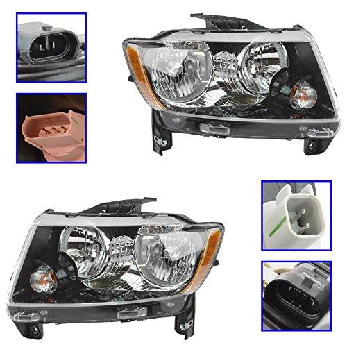 Headlight Headlamp Halogen Driver & Passenger LH RH Pair for 13-15 Jeep Compass