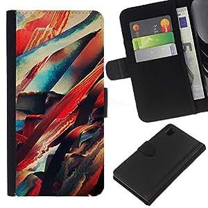 NEECELL GIFT forCITY // Billetera de cuero Caso Cubierta de protección Carcasa / Leather Wallet Case for Sony Xperia Z1 L39 // Pintura abstracta de neón