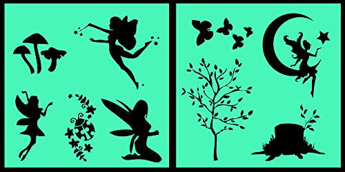 Auto Vynamics - STENCIL-FAERIESET01-20 - Detailed Woodland Fairy / Faerie Stencil Set - Multiple Faeries w/ Trees & Butterflies & More! - 20-by-20-inch Sheets - (2) Piece Kit - Pair of Sheets ()