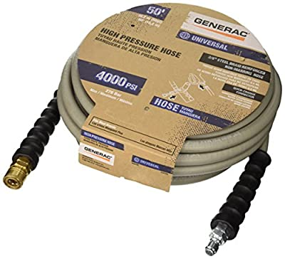 Generac 6618 Quick Disconnect Pressure Washer Hose, 50-Feet x 3/8-Inch, Grey