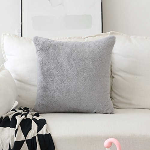 - HOME BRILLIANT Plush Lambskin Faux Fur/Suede European Throw Pillow Sham Super Soft Large Cushion Cover Sofa, 1 Pc, Pillow Not Included, 26 inches, Grey