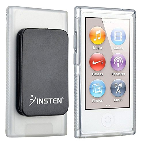 Insten Compatible with Apple iPod Nano 7th Generation Clear TPU Rubber Skin Case with Belt - Nano Case Clear
