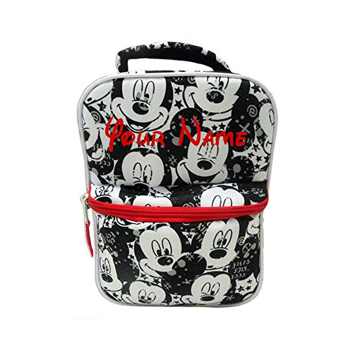 Personalized Disney Mickey Mouse Black and White Print Back to School Lunchbox Lunch Bag with Custom Name -