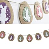 SUNBEAUTY 2.2m Easter Rabbit Eggs Natural Burlap Bunting Banner for Easter Decoration Holiday Party Garland (Rabbit)