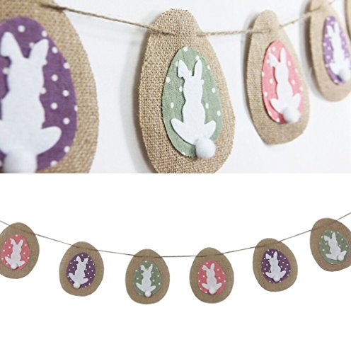 SUNBEAUTY 2.2m Easter Rabbit Eggs Natural Burlap Bunting Banner for Easter Decoration Holiday Party Garland (Rabbit) (Garland Easter)