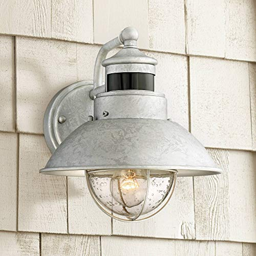 "Oberlin Outdoor Wall Light Fixture Farmhouse Galvanized 9"" Motion Security Sensor Dusk to Dawn for House Patio Porch - John Timberland"