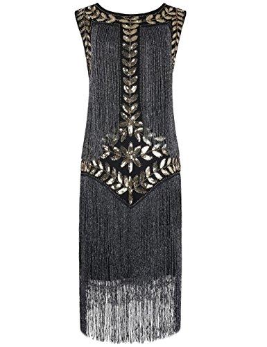Kayamiya Women's Flapper Dress 1920s Sequined Tassel Great Gatsby Dress XL (Great Gatsby Plus Size Dresses)