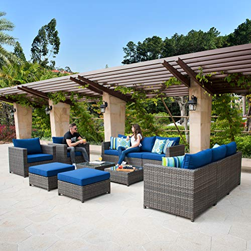 ovios Patio Furniture Set, Big Size Outdoor Furniture Sets,PE Rattan Wicker sectional with Pillows and Furniture Cover, No Assembly Required (Grey-Navy Blue)