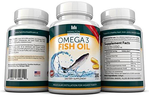 Force Triple Omega 3 supplément d'huile de poisson par distillation moléculaire 180ct qualité pharmaceutique avec 2,400 Mg huile de poisson par Serve (800mg EPA et 600 mg DPA) En Hamilton Santé