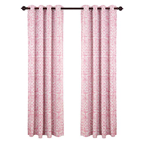 Deconovo Decorative Square Sketch Print Curtains Room Darkening Thermal Insulated Blackout Panels for Living Room 52W x 95L Pink Set of 2