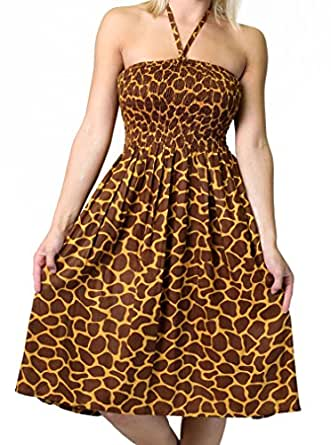 One-size-fits-most Tube Dress/Coverup with Animal Print - Giraffe