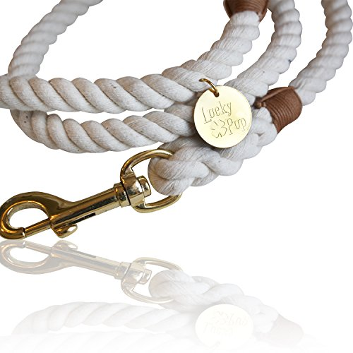 (Cotton Rope Leash for Dogs- Durable, Superior Quality, Style and Comfort- 5 Ft. Handmade Natural White Braided Lead for Women, Men and Kids (Small Medium Large Dogs) )