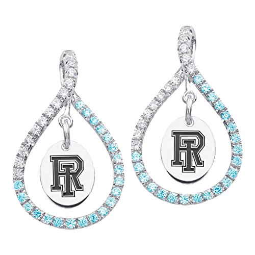 Rhode Island Rams Sterling Silver and Blue Cz Figure 8 Style Earrings by College Jewelry