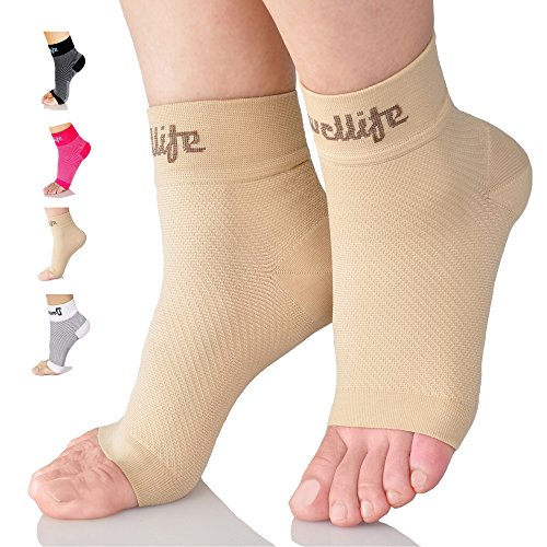Dowellife Plantar Fasciitis Socks, Ankle Brace Compression Support Sleeves & Arch Support, Foot Compression Sleeves, Ease Swelling, Achilles Tendonitis, Heel Spurs for Men & Women (Nude XL)