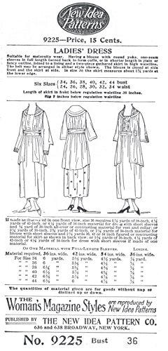 1917 Ladies' Maternity or General Wear Dress -