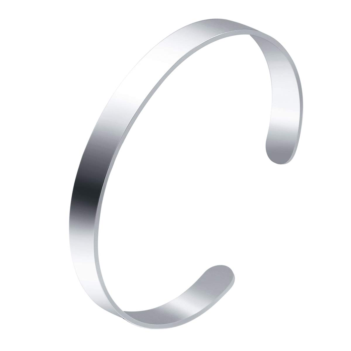 HooAMI 8mm Stainless Steel High Polished Open Cuff Bangle Bracelet Jewelry Unisex