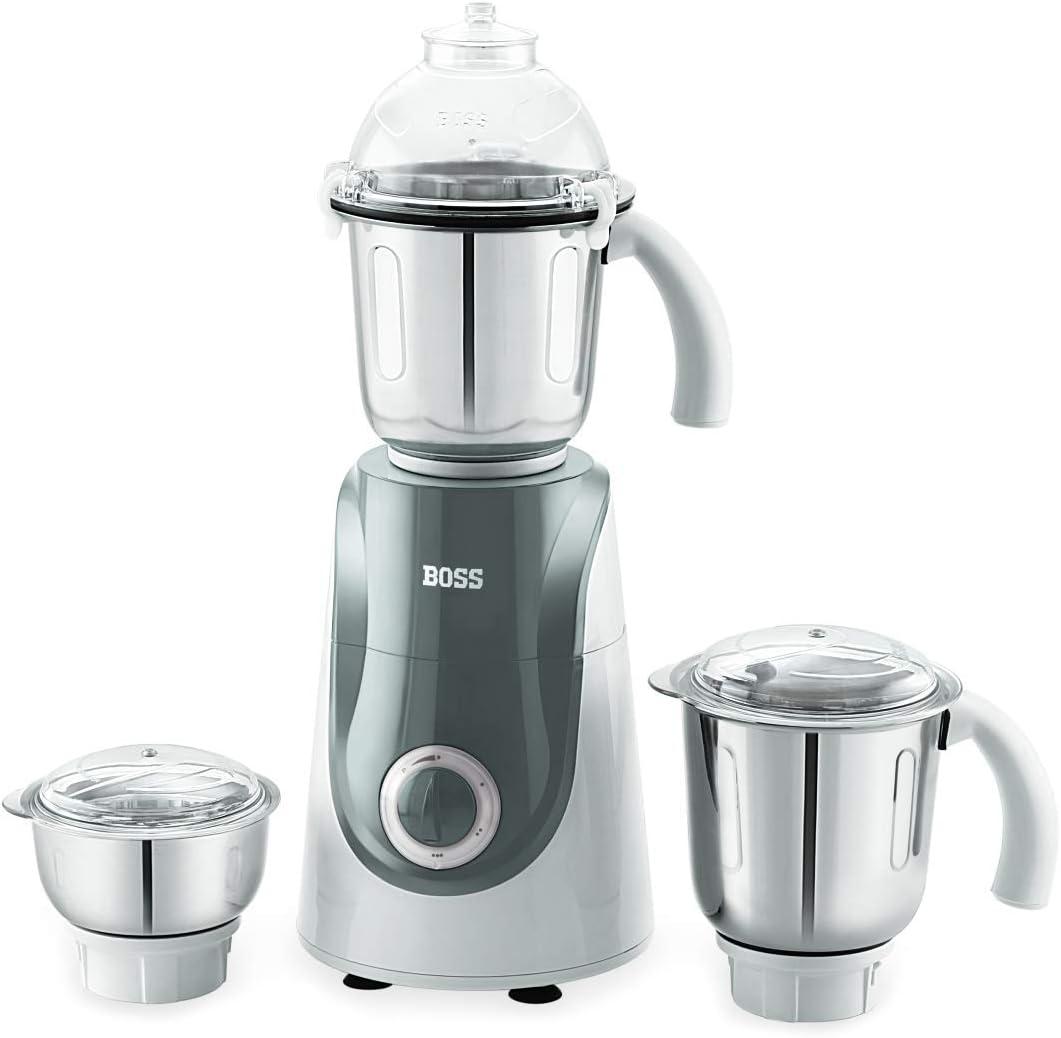BOSS Crown Mixer Grinder, Jar Capacity: Wet Jar-1400 Dry Jar-1150 Chutney Jar-450 ML, White & Grey