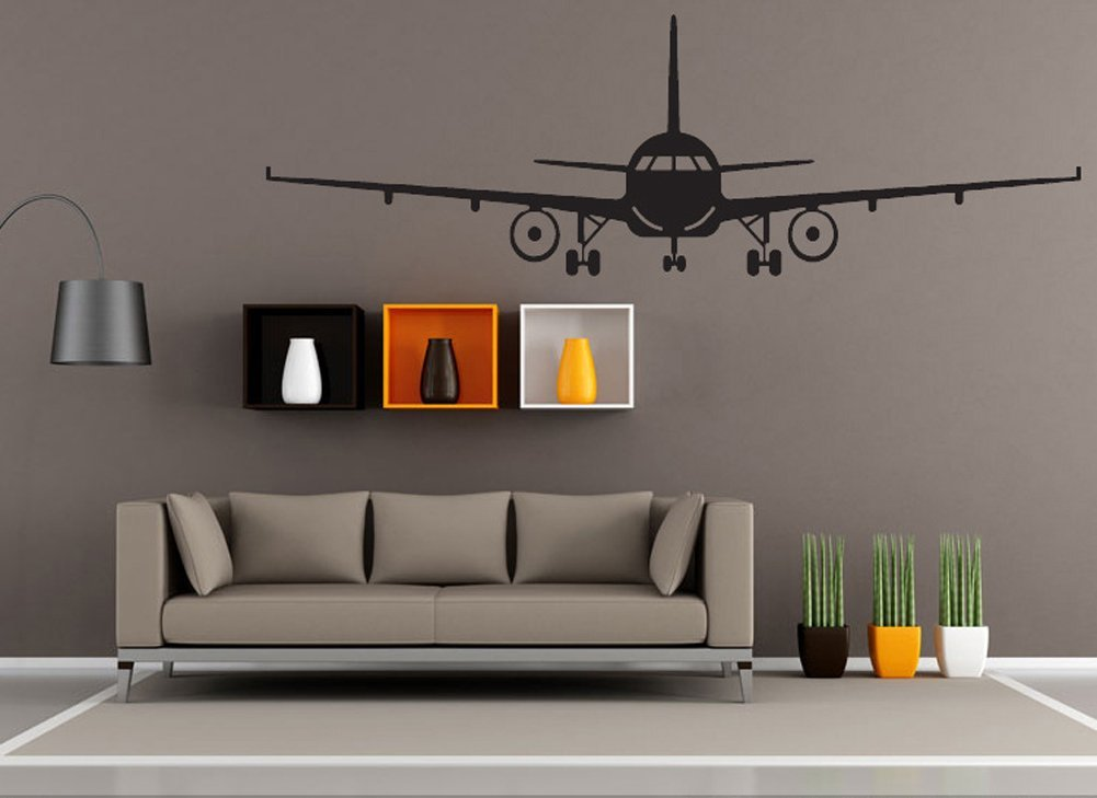 BIBITIME Military Army Cargo Airplane Silhouette Sticker Decal Flying Pilots Home Decor (S: 20.08 x 6.30 in, Black) 0889