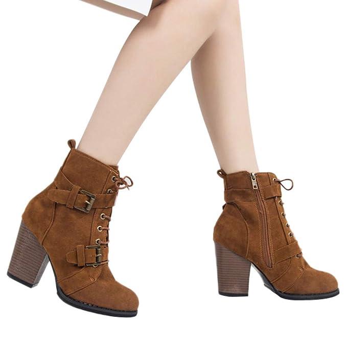 eb7b8733555 JiaMeng Botines Plataforma Bota Boots Ocasional Botas de Gamuza de Color  sólido con Cordones y con Cordones Botas con Cremallera Zapatos con Punta  Redonda  ...