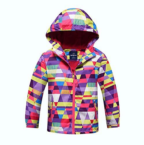 Lovekider Waterdichte jas meisjes patroon bedrukt capuchon regenjas fleece gevoerd met 2 zakken windjack regenjas voor…