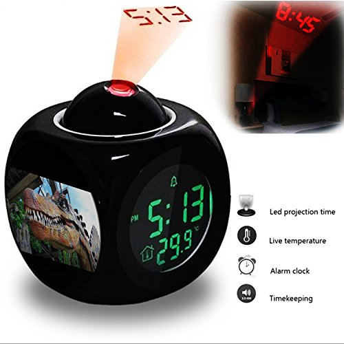 - Projection Alarm Clock Wake Up Bedroom with Data and Temperature Display Talking Function, LED Wall / Ceiling Projection, Dinosaur-330.434_Dinosaur, Head, Dino, Giant Lizard, T Rex, Replica