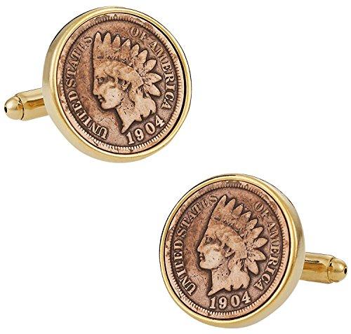 Cuff-Daddy Indian Head Penny Coin Cufflinks with Presentation Box