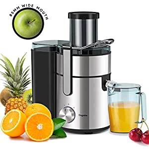 Juicer, Bagotte Upgrade 1000W Juicer Machines, Easy Clean Juice Extractor 3.3″ Wide Mouth Centrifugal Juicer for Whole Fruit Vegetable, Juicer Recipe Book & Brush, Anti-drip, Dual-Speed, BPA-Free, Large