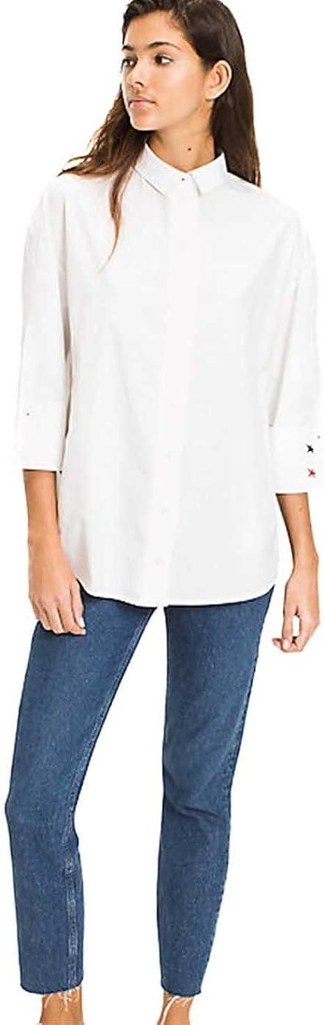 Tommy Hilfiger Camisa Mujer DW0DW04175 Blanca: Amazon.es: Ropa y accesorios